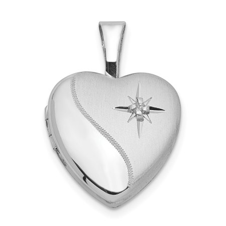 925 Sterling Silver Diamond 12mm Heart Photo Pendant Charm Locket Chain Necklace That Holds Pictures Jewelry Silver Diamond Charm Necklace