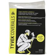 Trimaco 14121 Disposable No Elastic Painter's Coverall, Medium, Tyvek, White