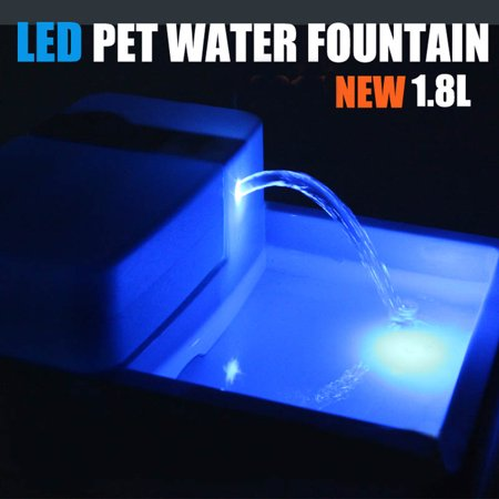 TOPCHANCES 12V 1.8L Capacity Sterilization Automatic Pet Water Fountain Pet Waterer Safe Drinking Filter Bowl for Pet Dogs Cats (US Plug)