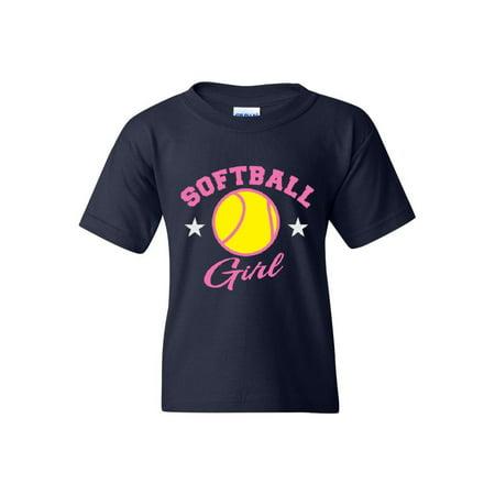Girls Stinger Softball (Softball Girl Plush Unisex Youth Kids T-Shirt Tee)