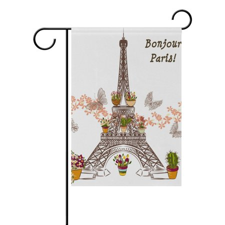 POPCreation Eiffel Tower With Flower And Potters Polyester Garden Flag Outdoor Flag Home Party Garden Decor 28x40 inches ()
