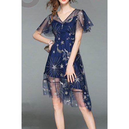 Women Flutter Sleeve V-Neck Irregular Hem Dress (V-neck Flutter Sleeve Dress)