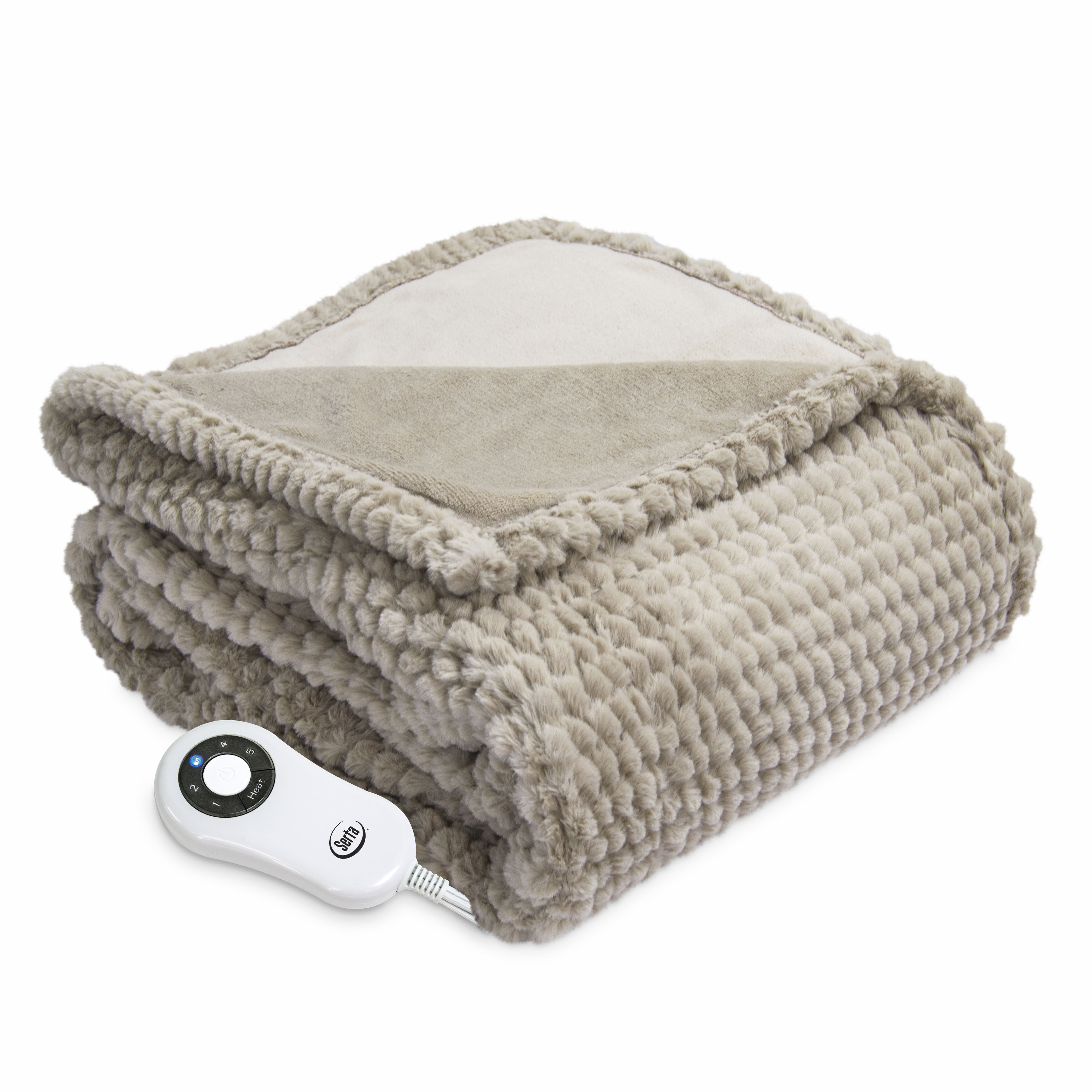 Serta Honeycomb Faux Fur Electric Heated Throw