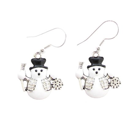 Snowman With Black Hat Christmas Holiday Crystal Accented Earrings Sports Tennis Earrings