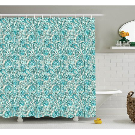 Teal Decor Shower Curtain Set Classic Lace Pattern