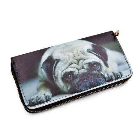 Premium Cute Pug Puppy Dog Animal Print PU Leather Zip Around Wallet