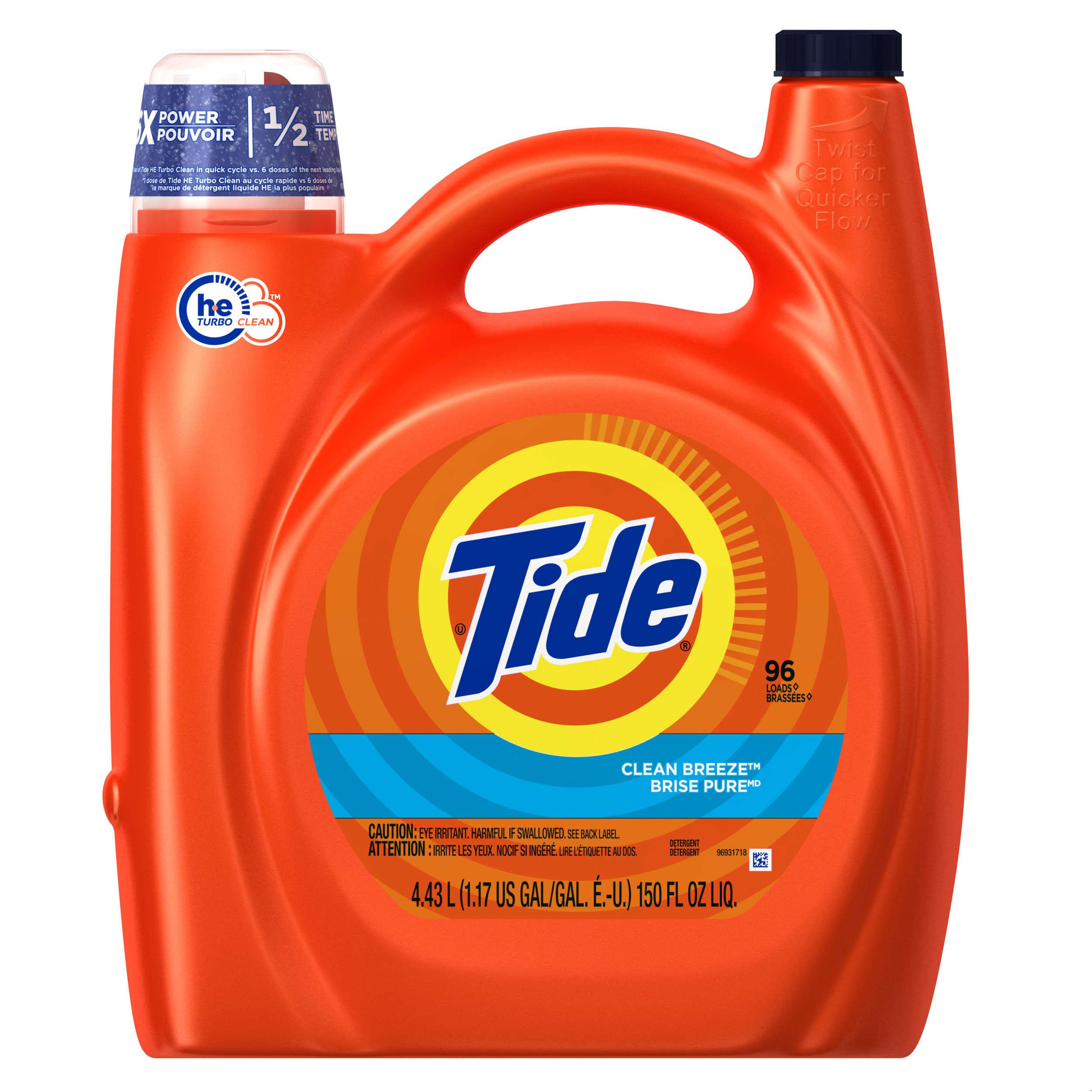 Tide HE Turbo Clean Liquid Laundry Detergent , Clean Breeze Scent , 150 oz , 96 loads