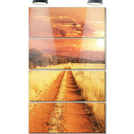 Design Art Straight Path In African Landscape 4 Piece Photographic Print On Canvas Set