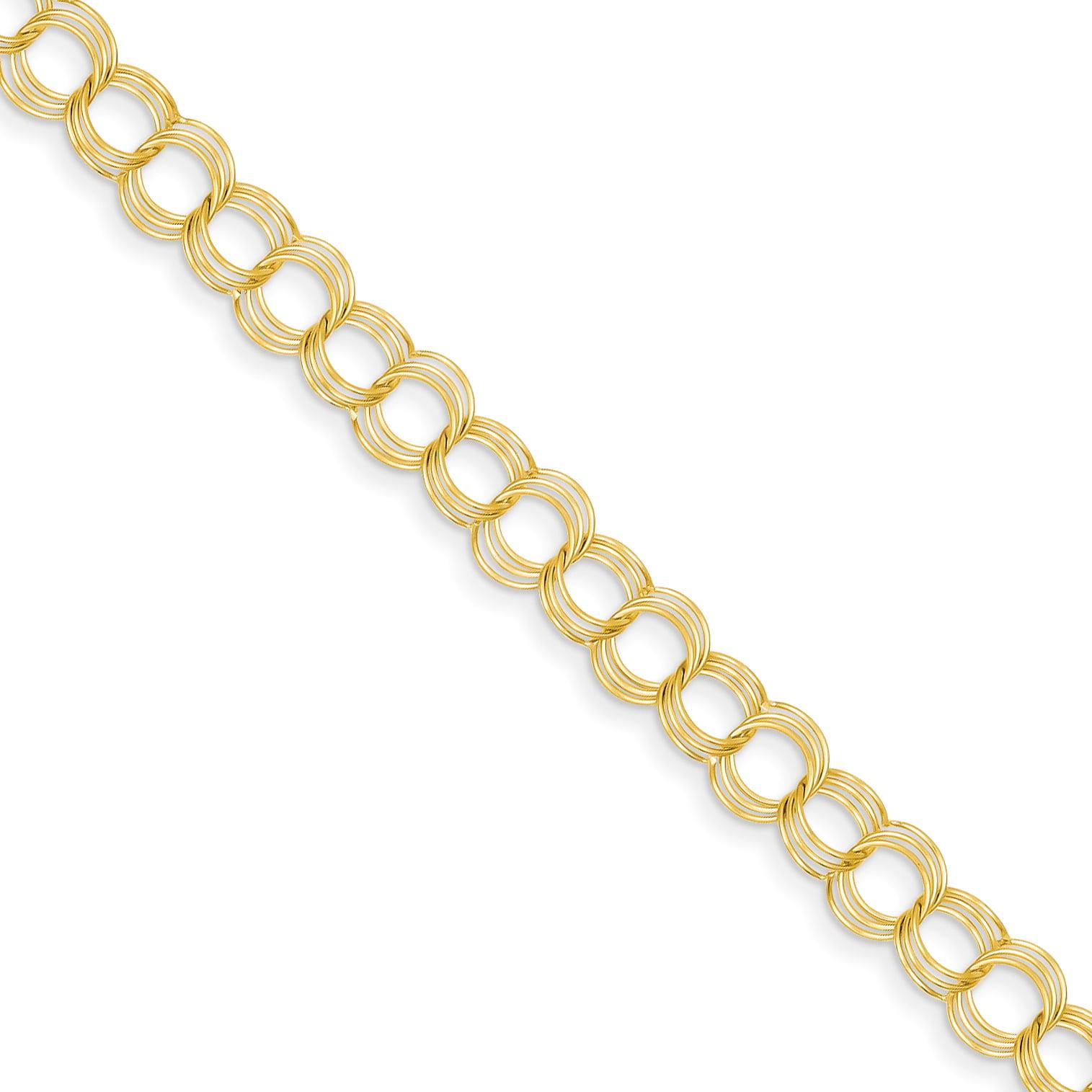 14k Yellow Gold 8in Solid Triple Link Charm Bracelet