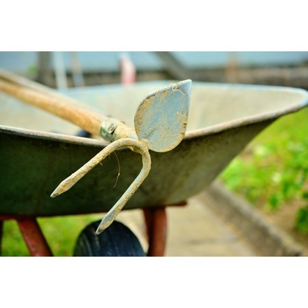 Canvas Print Gardening Faceplate Hoe Wheelbarrow Cart Stretched Canvas 10 x