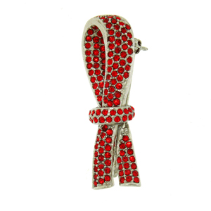 Platinum-Plated Swarovski Crystal Red Ribbon Design Brooch Pin (1 2 inch x 2 inches) by