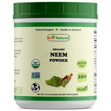 Best Naturals Certified Organic Neem Powder 8.5 OZ (240 Gram), Non-GMO Project Verified & USDA Certified (Best Coverage Drugstore Powder)