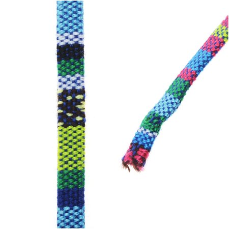 Cord Of Three Strands Wedding (Multi-Colored Cotton Cord, Flat Woven Strands 5x2mm, 3 Feet, Blue / Green)