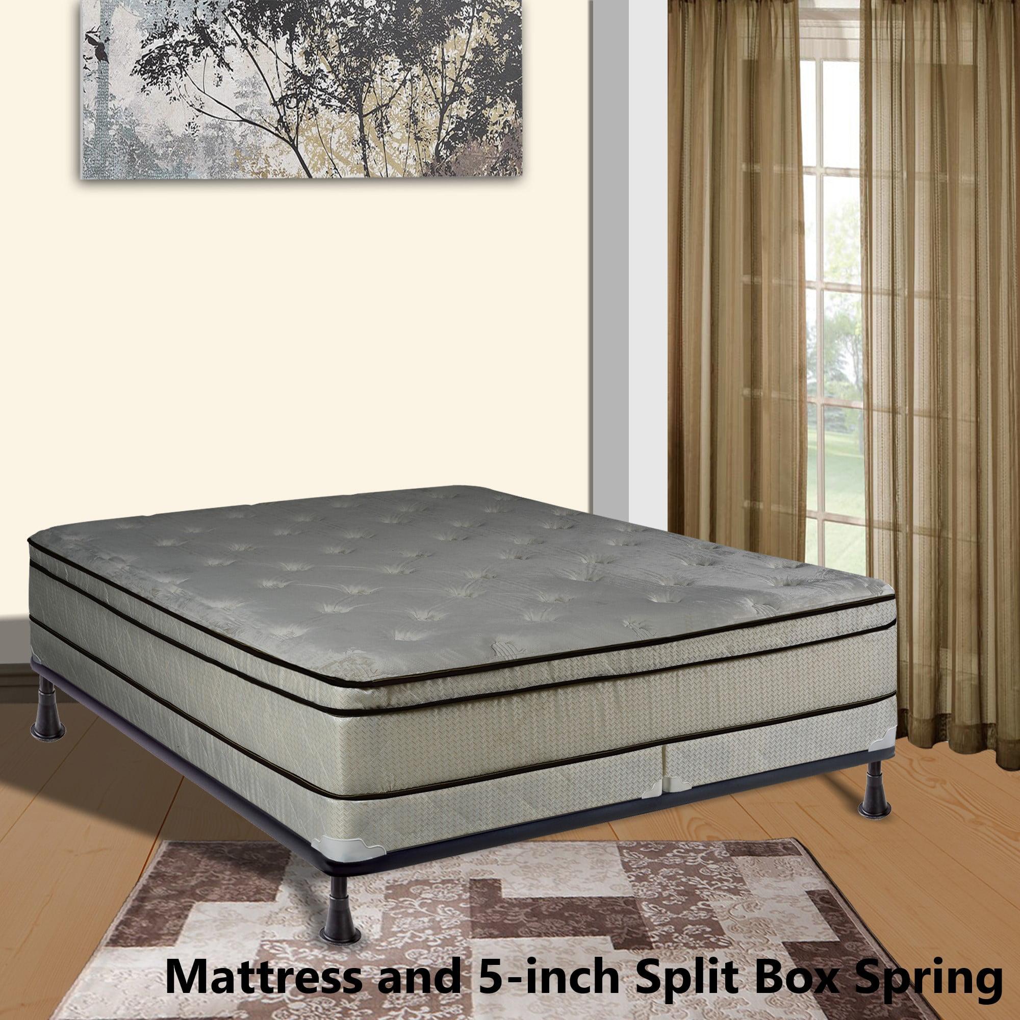 "Continental Sleep, 11-inch Fully Assembled FOAM ENCASED Innerspring Heavy plush Teddy Bear Fabric Mattress and 4"" Split Box Spring, Twin Size"