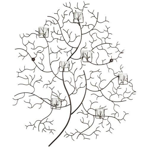 Safavieh 7 Votive Tree Wall Decor, Rustic Powder-Coated