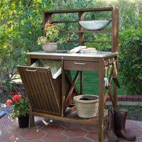 Belham Living Winfield Acacia Wood Potting Bench