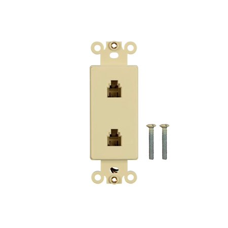 Duplex Insert (Monoprice Dcor Insert with Duplex Phone Jack - Ivory  for Home Office  Install )