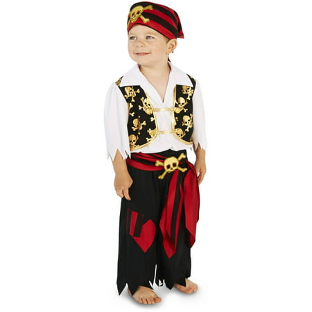 Skull Print Pirate Toddler Halloween Costume, Size 3T-4T