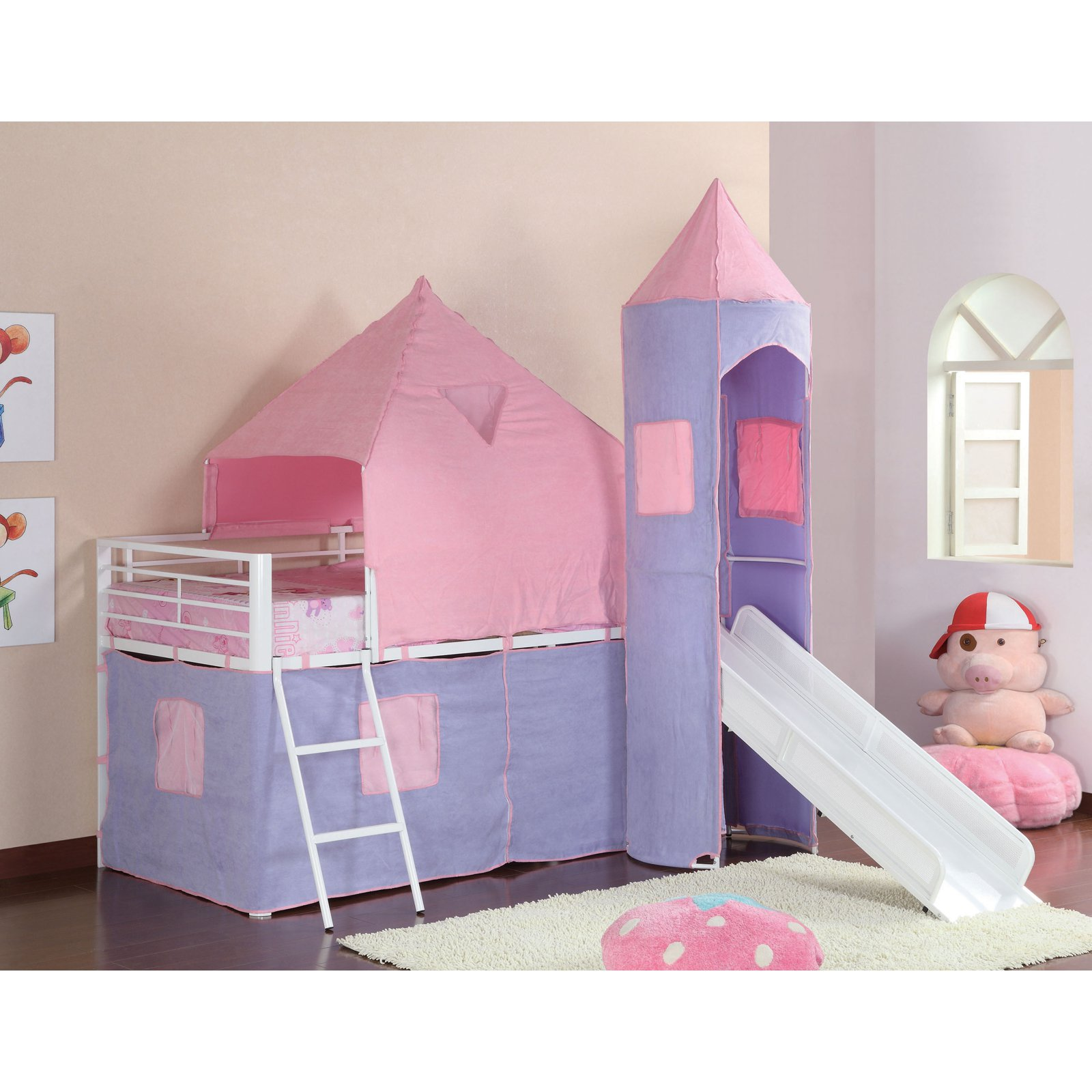 Coaster Princess Castle Twin Loft Bed, Pink/Purple