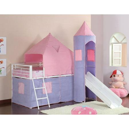 TWIN TENT BED, PINK/PERI;, 79.75 X 101.00 X 93.25