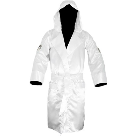 Cleto Reyes Satin Boxing Robe with Hood - White - Boxing Robe Cheap