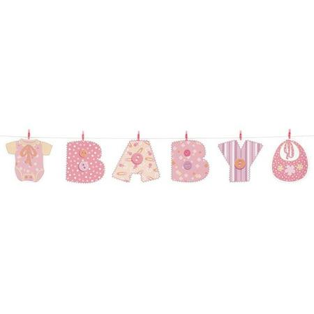 4ft Pink Stitching Baby Shower Clothesline Banner Walmart