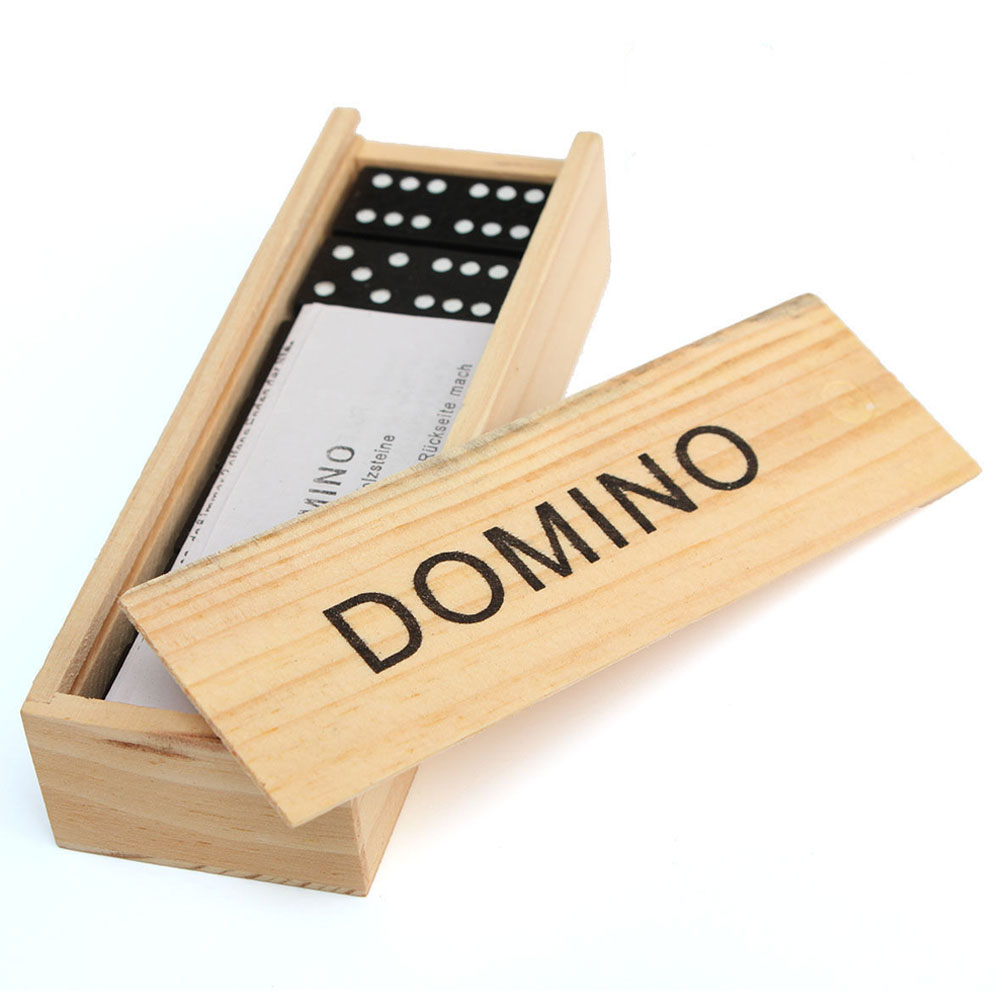 28 Pcs Domino Game Wooden Boxed Traditional Classic Blocks Play Set Toy Gift New
