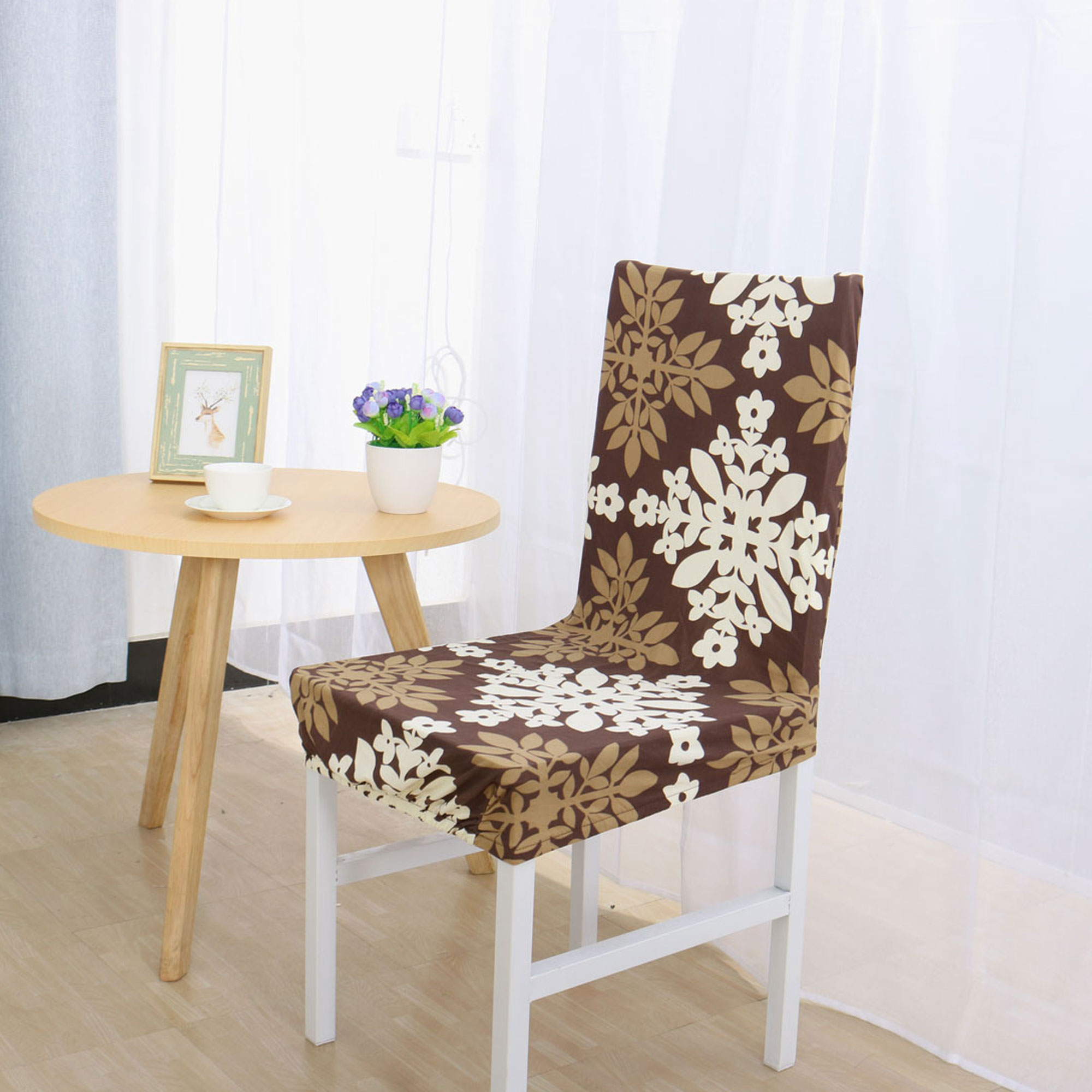 Spandex Stretch Removable Washable Dining Room Stool Chair Cover Slipcover