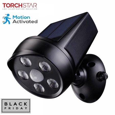 TORCHSTAR LED Solar Motion Sensor Lights, Outdoor Solar Security Lights, Black ()
