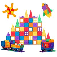 Best Choice Products 250-Piece Kids STEM 3D Magnetic Building Block Tile Toy Play Set w/ 4 Figures, Railroad Accessories