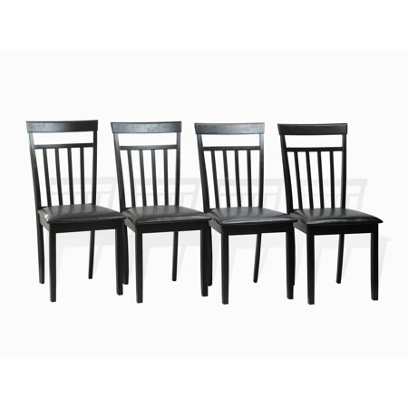 Wood Slat Seat - SK New Interiors Dining Kitchen Set of 4 Side Chairs Warm Solid Wood  w/Padded Seat, Espresso