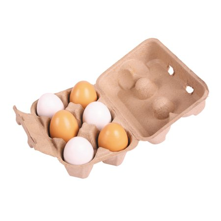 Bigjigs Toys  Wooden Six Eggs in a Carton (Toys In Eggs)