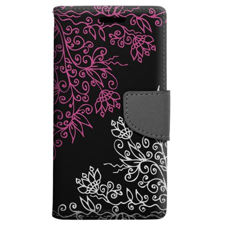 Apple iPhone SE Wallet Case - Pink White Floral on Black Case