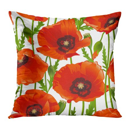 Beautiful Poppy (ECCOT Green Pattern Poppy Red Flower Vintage Abstract Beautiful Beauty Pillow Case Pillow Cover 18x18 inch)