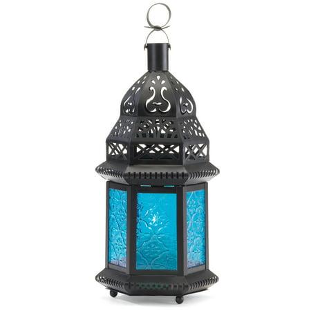 Malibu Creations 37438 Blue Moroccan Candle Lantern