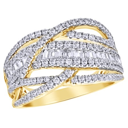 Round & Baguette Shape White Natural Diamond Loose Braid Ring in 10K Yellow Gold (1 cttw)