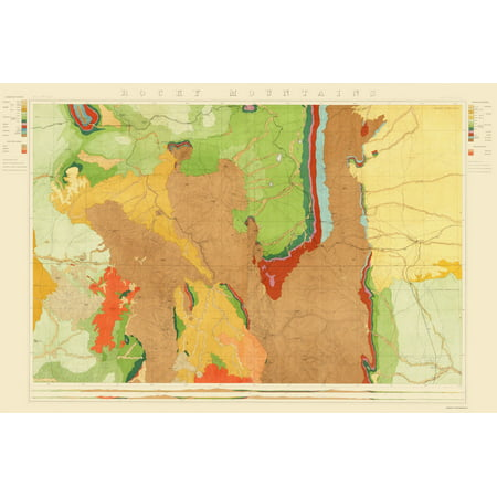 Topographical Map - Colorado Rocky Mountains Wyoming - King 1876 - 23 x  34.58 - Walmart.com