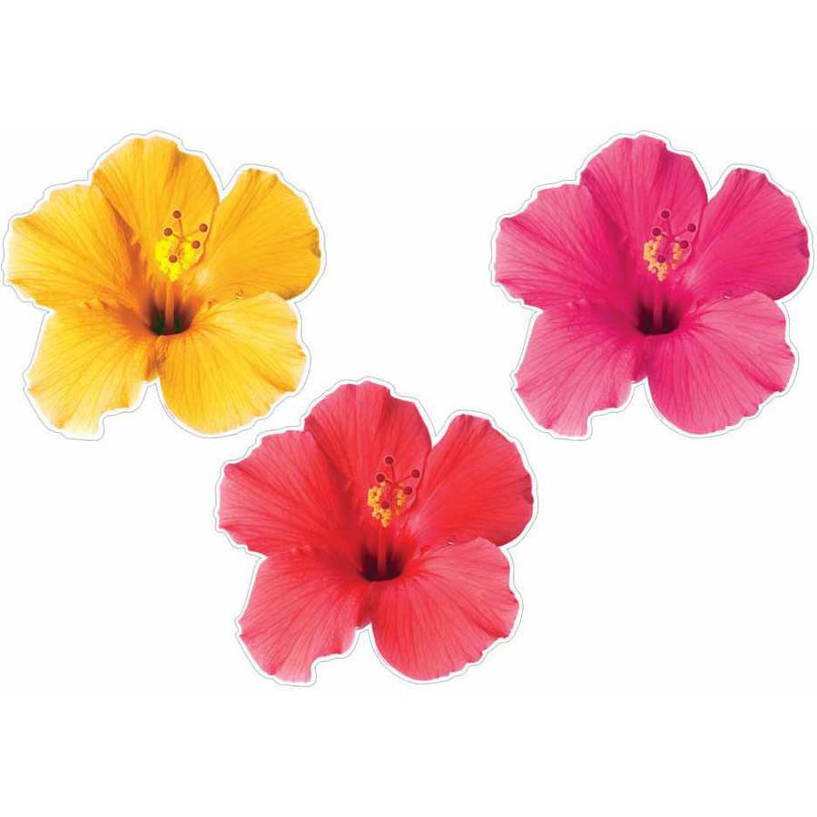 Luau Photographic Tropical Flower Cutouts, 3-Pack