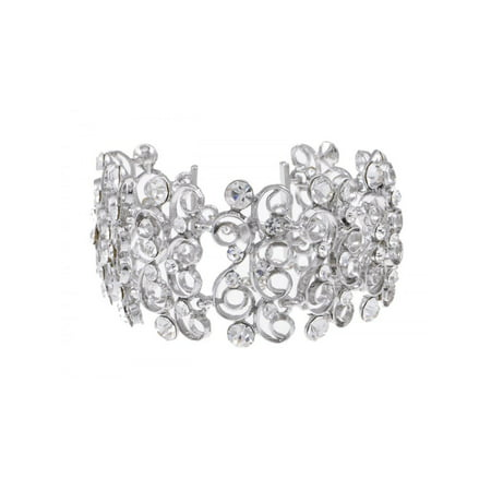 Fancy Stunning Crystal Rhinestone Design Swirl Angelic Princess Fashion Bracelet