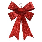 "7"" Red Sequin and Glitter Bow Christmas Ornament"