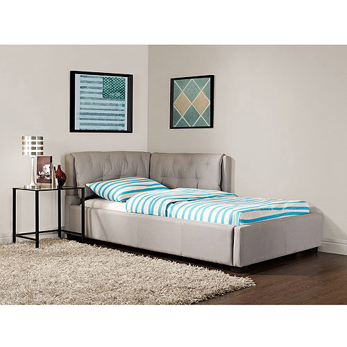 Tufted Lounge Reversible Twin Bed, Stone