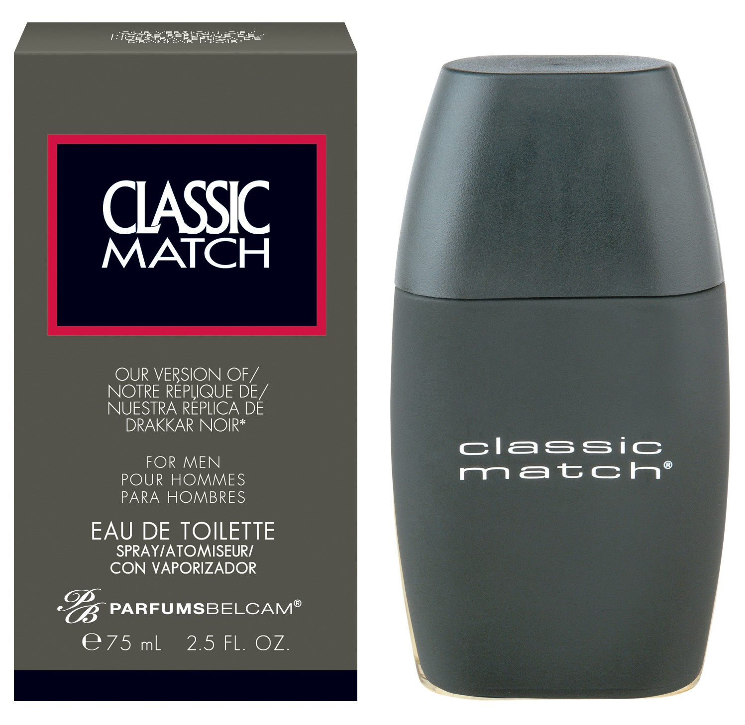 Classic Match, version of Drakkar Noir*, by PB ParfumsBelcam, Eau de Toilette Spray for Men, 2.5 oz