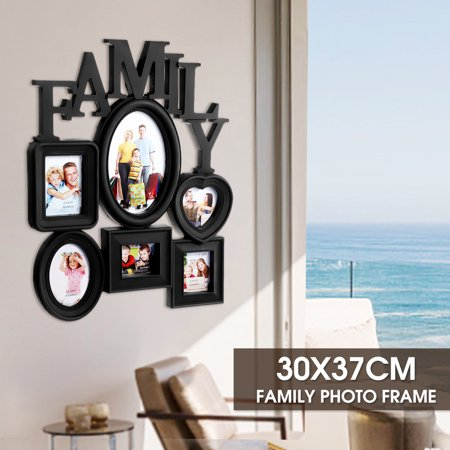 Grtsunsea 6-Opening Multi-sized Picture Frame Family Wall Collage Photo Holder Wall Table Display Home Bedroom Decor 30x37cm, White Black (Bedrooms Black And White Pictures)