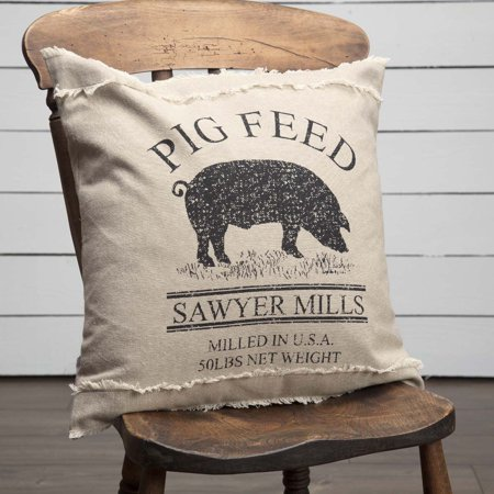 Khaki Tan Farmhouse Bedding Miller Farm Charcoal Pig Cotton Stenciled Chambray Nature Print Square 18x18 Pillow (Pillow Cover, Pillow Insert)](Pug Decor)