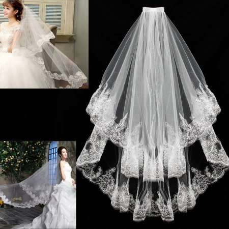 Long Veils With Crystals (2 Layer White Fingertip Length Lace Sequin Wedding Bridal Veil Lace Veils With)