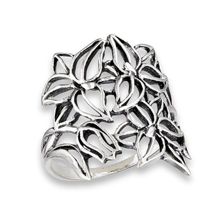 Style Flower Ring (Oxidized Filigree Flower Victorian Style Ring Sterling Silver Band Size 9)