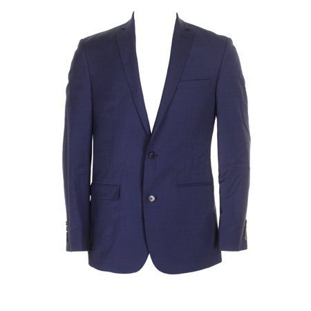 Bar Iii Navy Slim Fit Single Breasted Double Button Notched Lapel Blazer 38R