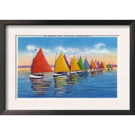 Nantucket, Massachusetts - View of the Rainbow Sailboat Fleet Framed Art Print Wall Art