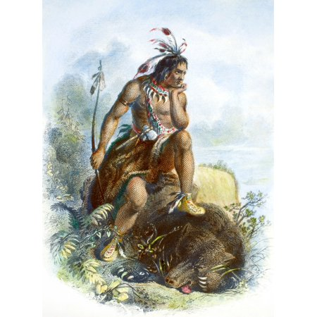 Native American Hunter Ndecorative Steel Engraving By The American Bank Note Company C1870 Poster Print By Granger Collection
