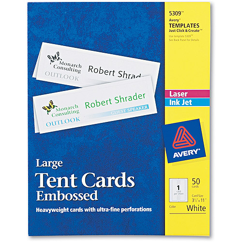 Avery Large Embossed Tent Card, White, 3 1/2 x 11, 1 Card/Sheet, 50/Box